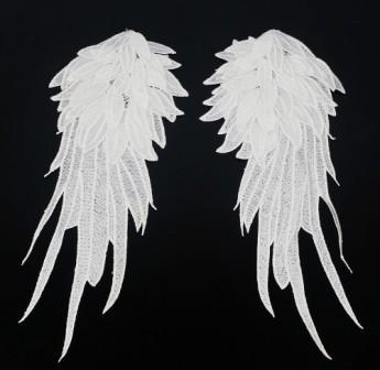 """GB311 Appliques White Venise Lace Epaulet Mirror Pair Motifs 16"""""""