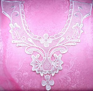 GB316 White Venise Lace Victorian Yoke Collar Applique 14""