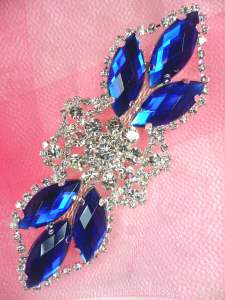 GB318 Blue Marquise Crystal Rhinestone Applique Embellishment 3.25""