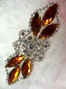 GB318 Bright Orange Marquise Crystal Rhinestone Applique Embellishment 3.25""