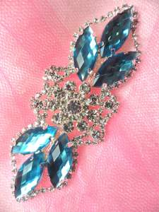 GB318 Denim Marquise Crystal Rhinestone Applique Embellishment 3.25""