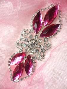 "GB318 Fuchsia Marquise Crystal Rhinestone Applique Embellishment 3.25"""