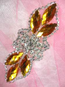 GB318 Gold Marquise Crystal Rhinestone Applique Embellishment 3.25""