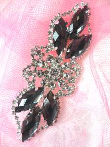 GB318 Gunmetal Marquise Crystal Rhinestone Applique Embellishment 3.25""