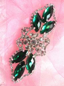 GB318 Green Marquise Crystal Rhinestone Applique Embellishment 3.25""