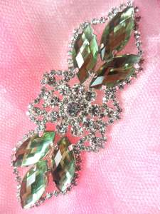 GB318 Light Green Marquise Crystal Rhinestone Applique Embellishment 3.25""