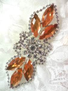 GB318 Peach Marquise Crystal Rhinestone Applique Embellishment 3.25""