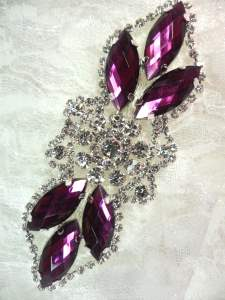 GB318 Plum Marquise Crystal Rhinestone Applique Embellishment 3.25""