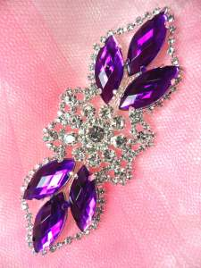GB318 Purple Marquise Crystal Rhinestone Applique Embellishment 3.25""