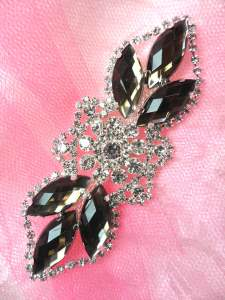GB318 Smoke Marquise Crystal Rhinestone Applique Embellishment 3.25""