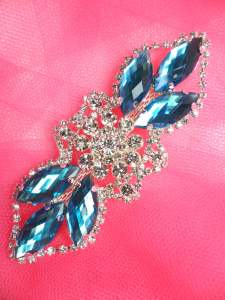 GB318 Turquoise Marquise Crystal Rhinestone Applique Embellishment 3.25""