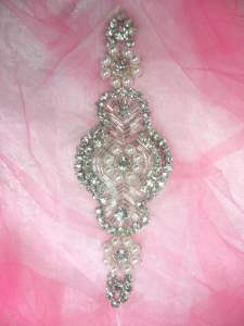 GB321 Pearl Applique Crystal Clear Rhinestone Patch 7""
