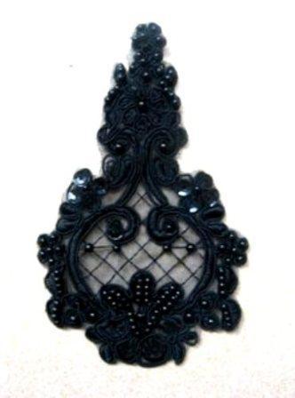 GB325 Applique Venise Lace Black Beaded Sequin Patch