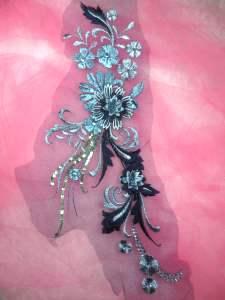 """GB332 Metallic Blue Floral Applique Sequin Flower Patch 13.5"""""""