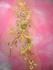 """GB332 Gold Bronze Floral Applique Sequin Flower Patch 13.5"""""""