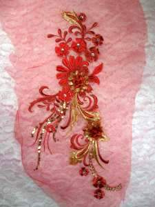 GB332 Red Gold Floral Applique Sequin Flower Patch 13.5""