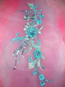 GB332 Metallic Turquoise Silver Floral Applique Sequin Flower Patch 13.5""