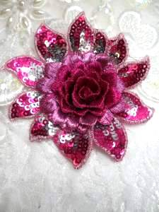 GB333 Embroidered Metallic Fuchsia Silver Sequin Floral 3D Applique 3""