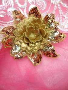 GB333 Embroidered Metallic Gold Sequin Floral 3D Applique 3""