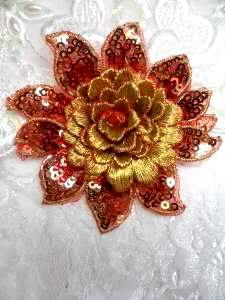 GB333 Embroidered Metallic Red Gold Sequin Floral 3D Applique 3""