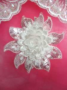 GB333 Embroidered White Sequin Floral 3D Applique 3""