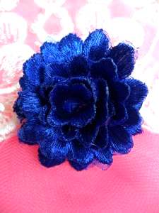 GB334 Embroidered Metallic Blue Floral 3D Applique 2""