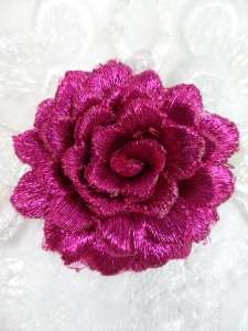 GB334 Embroidered Metallic Fuchsia Floral 3D Applique 2""