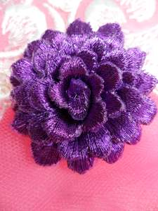 GB334 Embroidered Metallic Purple Floral 3D Applique 2""
