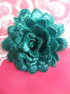 GB334 Embroidered Metallic Turquoise Floral 3D Applique 2""