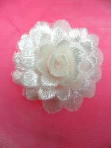 GB334 Embroidered White Floral 3D Applique 2""