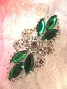"""GB335 Dark Green Marquise Crystal Rhinestone Applique Embellishment 3.25"""""""