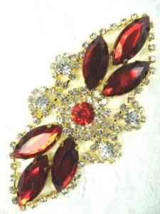 "GB335 Dark Red Marquise Rhinestone Applique Gold Embellishment 3.25"""