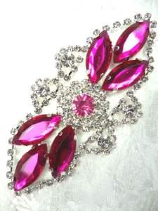 "GB335 Fuchsia Marquise Rhinestone Applique Embellishment 3.25"""
