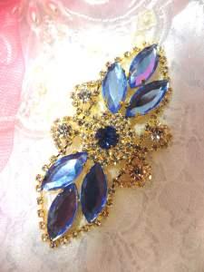 "GB335 Light Blue Marquise Crystal Rhinestone Applique Gold Embellishment 3.25"""
