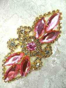 GB335 Light Pink Marquise Rhinestone Applique Gold Embellishment 3.25""