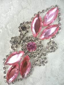 "GB335 Light Pink Marquise Rhinestone Applique Embellishment 3.25"""