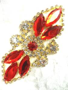 "GB335 Red Marquise Rhinestone Applique Gold Embellishment 3.25"""