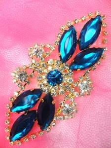 "GB335 Teal Marquise Rhinestone Applique Gold Embellishment 3.25"""