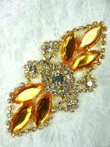 "GB335 Yellow Marquise Rhinestone Applique Gold Embellishment 3.25"""
