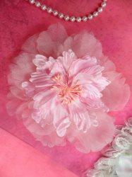 "GB362 Pink Flower Brooch Applique Beaded Center Chiffon 6"""