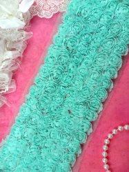"""GB338 Wedding Bridal Floral Aqua Sewing Trim 3.5"""""""
