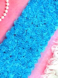 GB338 Wedding Bridal Floral Turquoise Sewing Trim 3.5""