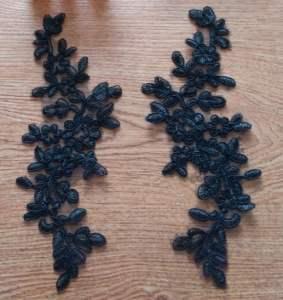 """GB341 Black Floral Venise Lace Mirror Pair Appliques 9.5"""""""