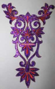 "GB345 Purple Orange Gold Bodice Yoke Sequin Applique Motif 9.75"""