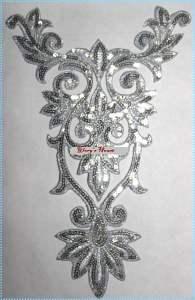 "GB345 Silver Bodice Yoke Sequin Applique Motif 9.75"""