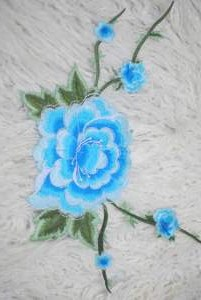 GB346 Floral Turquoise Embroidered Flower Applique Iron On Patch 5.5""