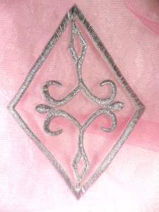 """GB348 Silver Metallic Embroidered Applique Iron On Patch 4.25"""""""