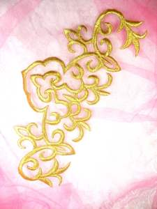 """GB351 Gold Metallic Embroidered Applique Iron On Patch 8"""""""