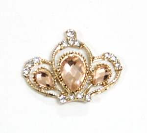 GB353 Copper Crystal Rhinestone Crown Button 1""