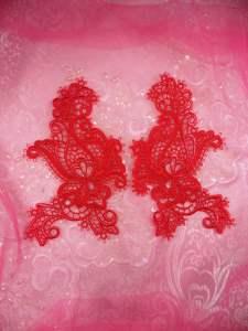 "GB359X Red Floral Venise Lace Mirror Pair Appliques 5.5"""